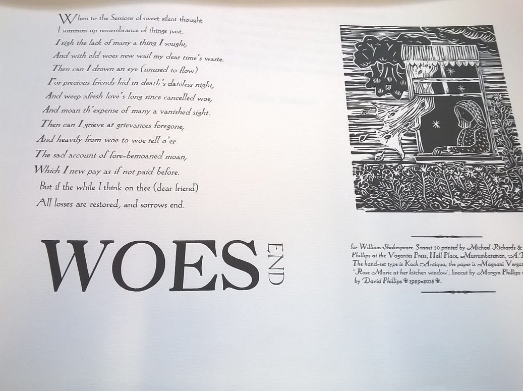 Sonnet 30, Michael Richards and Morgyn Phillips, Vagantes Press, Murrumbateman, Australia