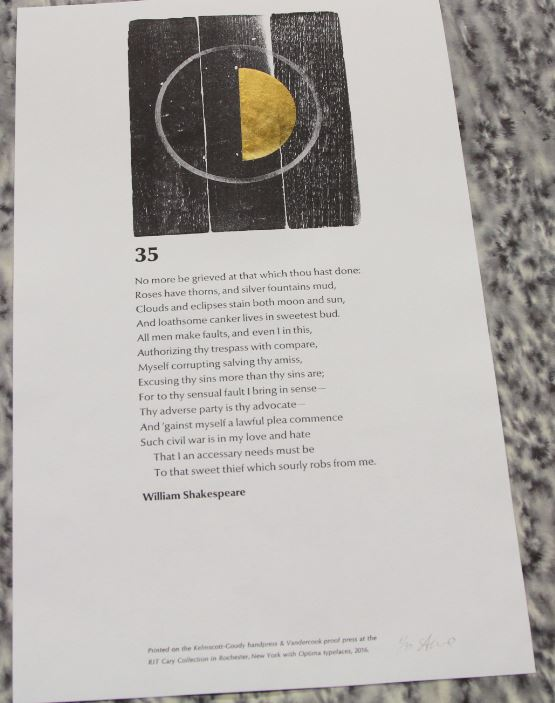 Sonnet 35, Amelia Fontanel and Steven K. Galbraith, RIT Graphic Arts Collection, Rochester, NY, USA