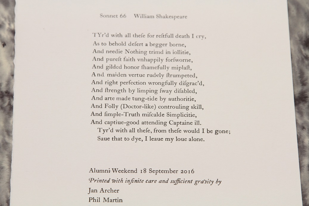 Sonnet 66, printed by Alumni of the University of Oxford at the Bodleian Bibliographical Press