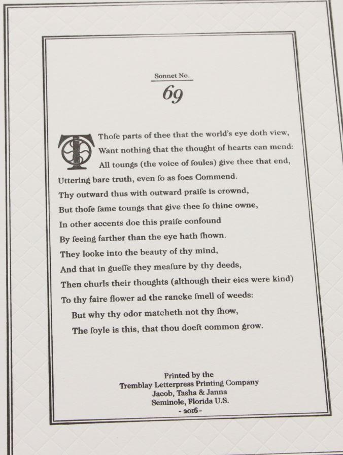 Sonnet 69, Tremblay Letterpress Printing Company, Florida