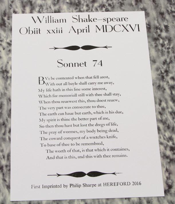 Sonnet 74, Phil Sharpe, Hereford, UK