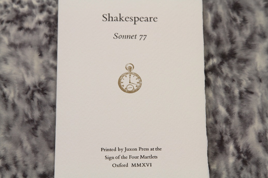 Sonnet 77, Liz Adams, Juxon Press, Oxford