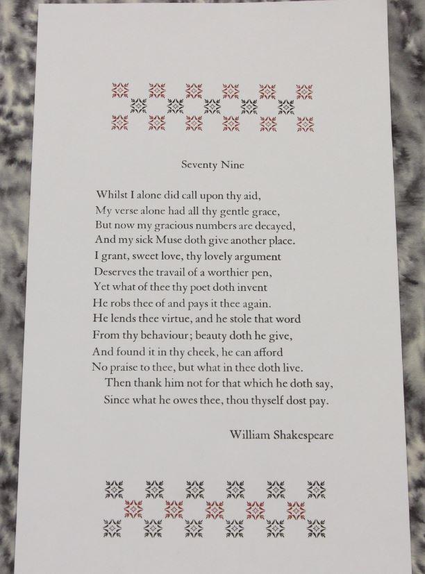 Sonnet 79, Andy Taylor, The Elrod Press, UK