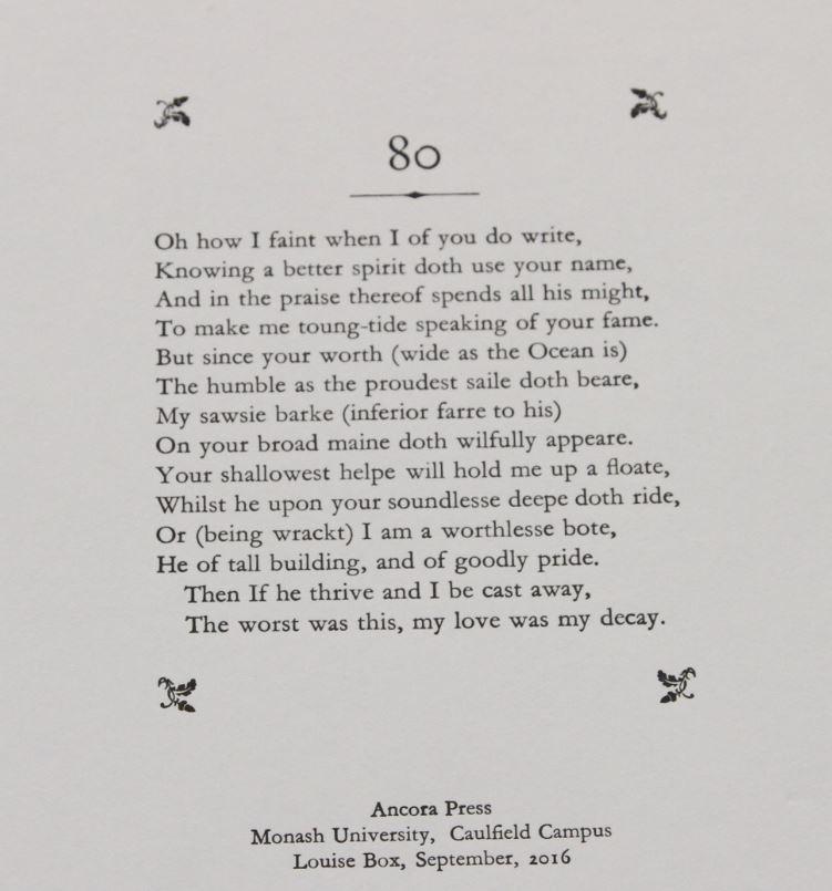 Sonnet 80, Brian McMullin, Ancora Press, Melbourne, Australia