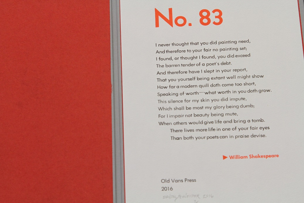 Sonnet 83, Daniel Schneider, Old Vans Press., Michigan, USA