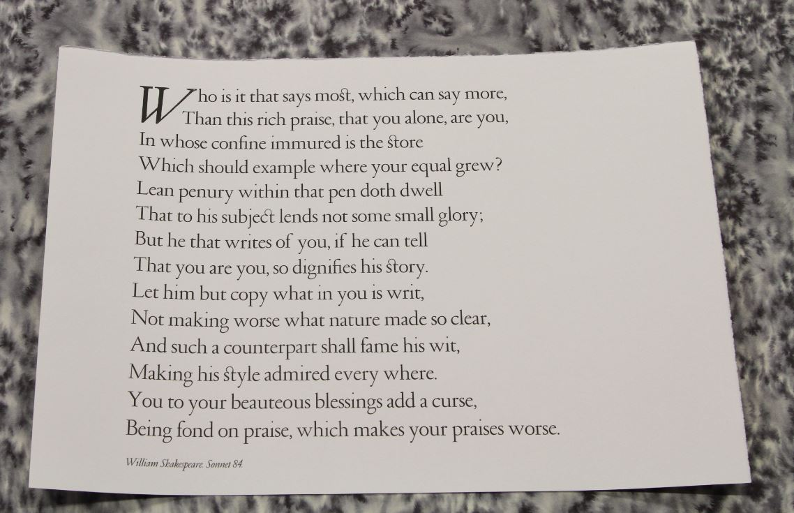 Sonnet 84, Andrew Judd, Belmont Hall Press, Malvern, UK