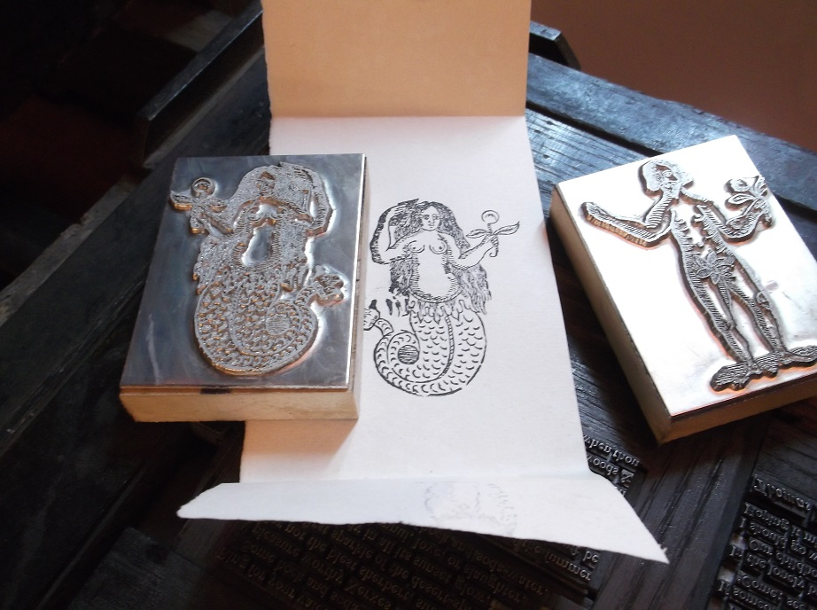 The 'mermaid' and 'Adam' photo-etched metal blocks