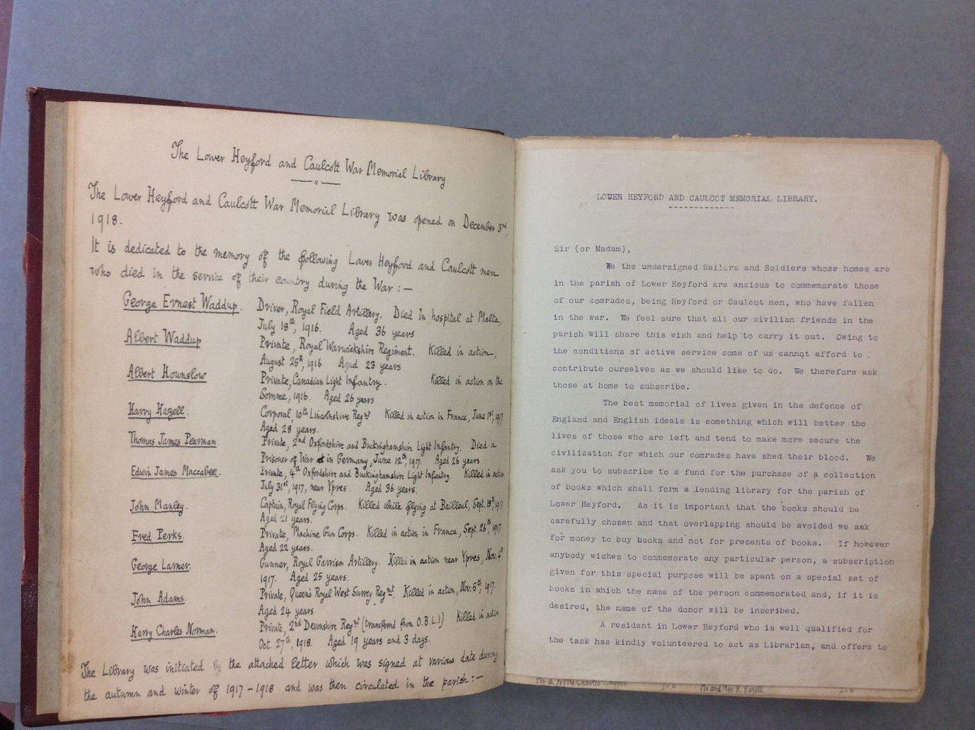 Bodleian Vet. A7 d.799: subscription to raise money for a war memorial library, within a copy of J.C. Blomfield's History of Lower and Upper Heyford
