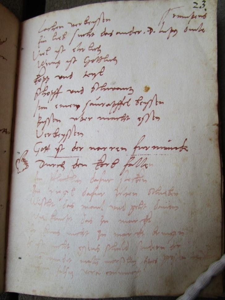 Bodleian Library MS Add. A. 92, p. 23. Photo: Alexander Peplow. Reproduced with permission of the Bodleian Libraries