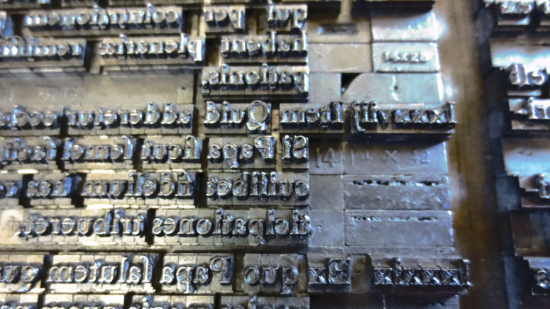 Type set in 2016 for printing Martin Luther's 95 theses; Thesis 88
