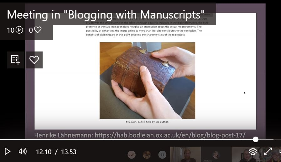 A screenshot from the webinar, Blogging with Manuscripts, July 2020