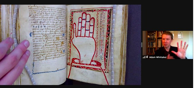 Adam Whittaker demonstrating the 'Guidonian Hand' in medieval music theory manuscripts