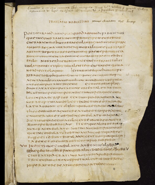 The beginning of Marcellinus' Chronicle. Bodleian Libraries, MS. Auct. 2. 26, fol. 146r (6th century (after 548), Italian?).