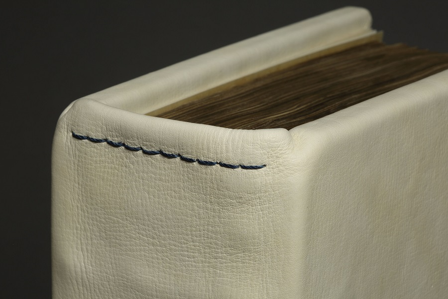 Saddle stitching linking the cover to the text-block