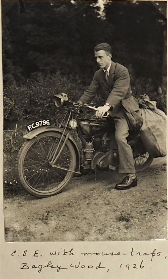 Charles Elton on his motorbike with mouse-traps, at Bagley Wood, Oxford, 1926 (Bodleian Libraries, MS. Eng. c. 3328, folder A71)