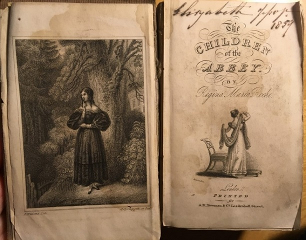 Figure 1: Frontispiece and title page of Regina Maria Roche's The Children of the Abbey. Personal copy.