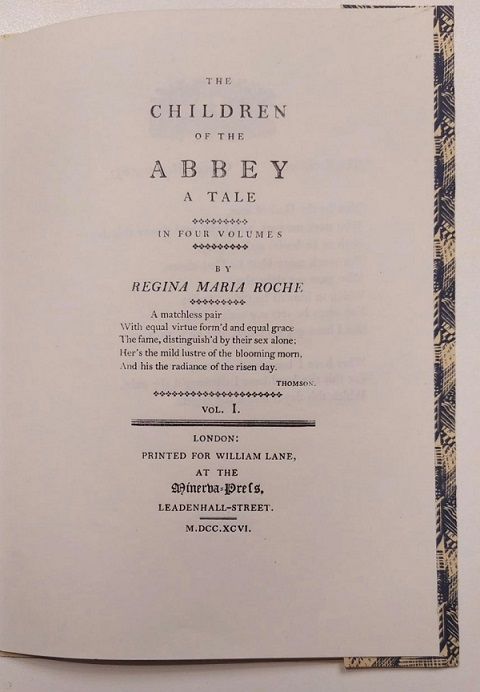"""Figure 3: During my MSt at Oxford in 2018-19, I took part in the """"Practical Printing Workshops"""" at the Bodleian Library, where I typeset this frontispiece from the first edition of Roche's The Children of the Abbey."""