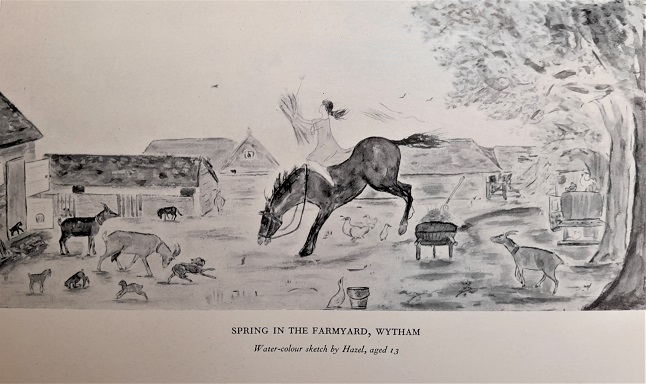 'Spring in the farmyard, Wytham,' a watercolour by Hazel ffennell, reproduced from Hazel : the happy journey (1945)