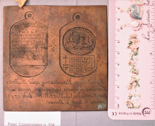 Copper plate from the Rawlinson collection, Bodleian Library