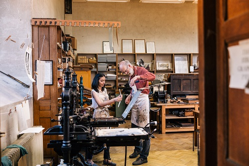 The hand-press workshop in the Old Bodleian Library