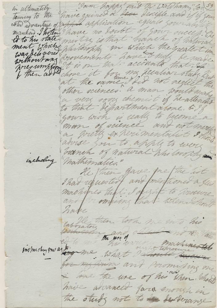 Mary Shelley, draft of <em>Frankenstein</em>