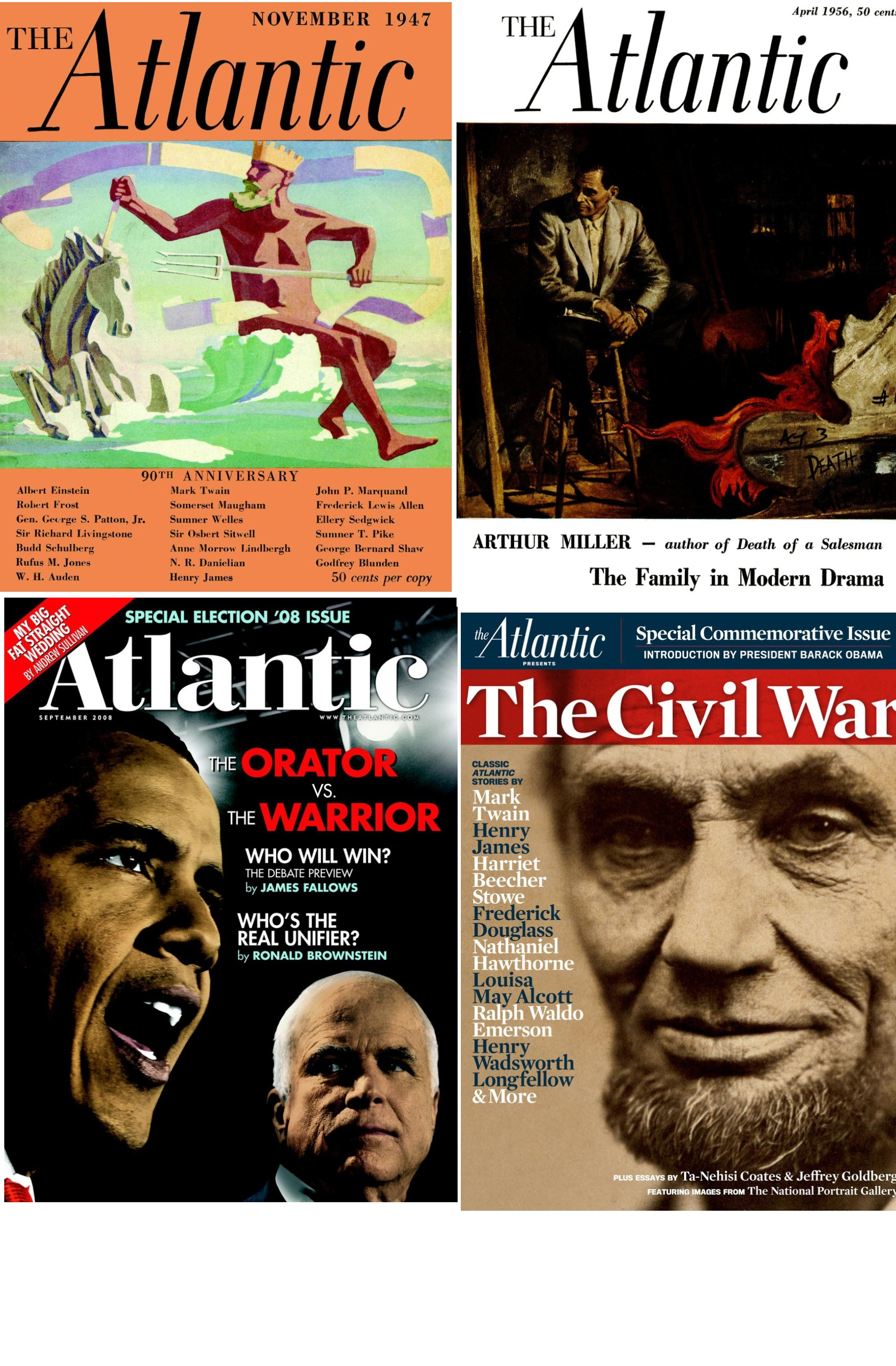 Images of the front covers of the Atlantic Magazine.