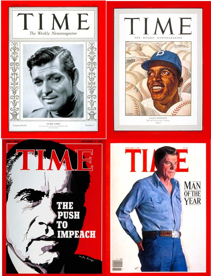 Four covers from Time Magazine's past editions.