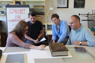Nicole Gilroy, Arthur Green, Julie Sommerfeldt and Andrew Honey examine the First Folio