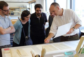 Andrew Honey explaining the paper treatment of the final three detached leaves