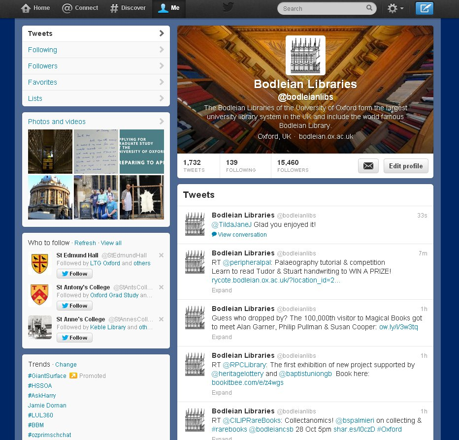 The Twitter profile page for the Bodleian Libraries.