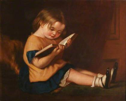 A Little Girl Reading  (unknown artist), from the collections of the Bodleian Library