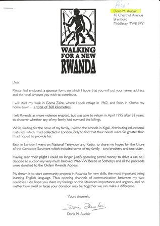 Doris M. Auclair's sponsor form for 'Walking for a new Rwanda', March 1996