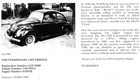 Sotheby's advert for 'Charlie' the Beetle which states: 'The proceeds of this lot will be donated to Oxfam'.