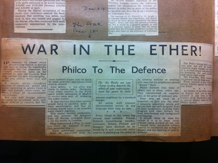 newspaper clipping: War in the ether (Marconi Archive, Bodleian Library)