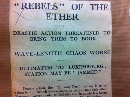 newspaper clipping : 'Rebels' of the ether (Marconi Archive, Bodleian Library)