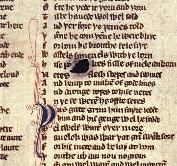 Detail of Bodleian MS. Laud misc. 108, fol. 208r, showing a hole in the vellum.