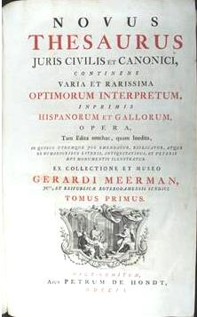 title page, Novus Thesaurus Juris Civilis et Canonici