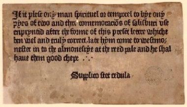Advertisement for Sarum Pie ['Ordinale ad usum Sarum'] ([Westminster: William Caxton, c.1476-7])
