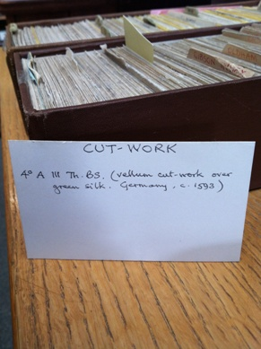 The card index of bindings in the Rare Books office.