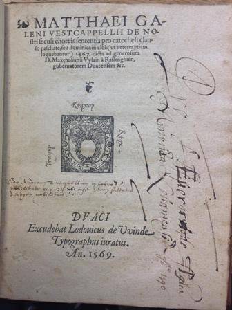 Title page of Bodleian Library Don. e.817, with partially unread transcription
