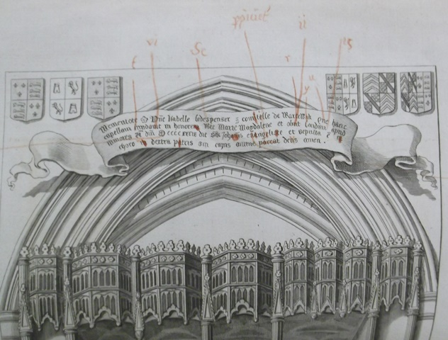 Corrected proof of a plate from Richard Gough's Sepulchral monuments, folded into Bodleian Gough Warw. 22, William Dugdale's Antiquities of Warwickshire (1656)