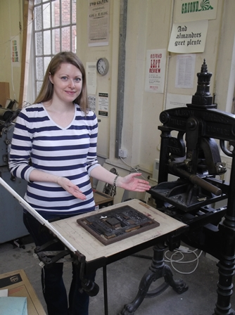 Dr. Felton at the Bodleian Hand-Printing Workshop
