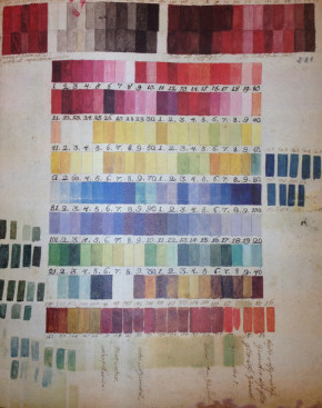 Colour chart (c.1770s) discovered in the Archives of the Botanical Gardens in Madrid in 1999, and likely to have been used by the Bauer brothers © Archivo del Real Jardín Botánico, CSIC, Madrid.