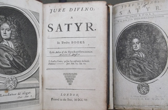 Bodleian Vet. A4 e.2816 and Vet. A4 e.350, two different abridgements of Daniel Defoe's satirical poem, Jure Divino