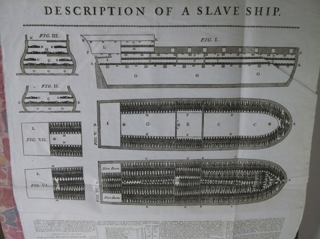 Description of a slave ship (London: James Phillips, George Yard, Lombard Street, 1789), pasted inside the front cover of Douce 309, Vincent of Beauvais, Speculum historiale (Strasbourg, c. 1473)
