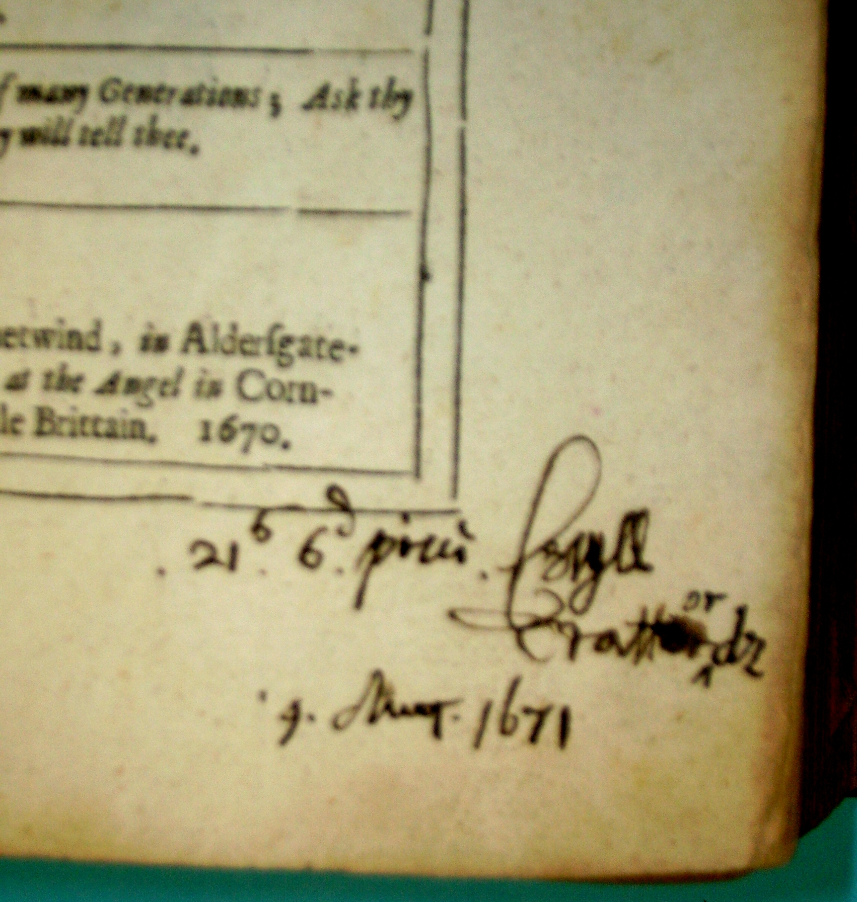 Annotations from 1671 on Prynne title page