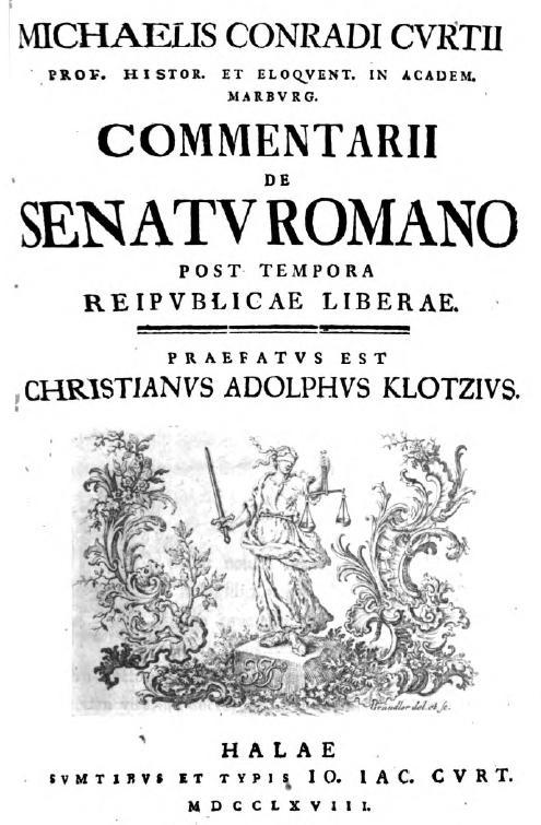 front page of Commentarii de Senatu Romano