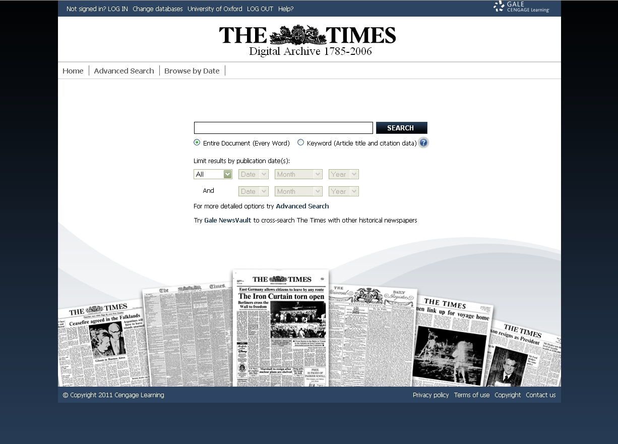 Times Digital Archive - new look