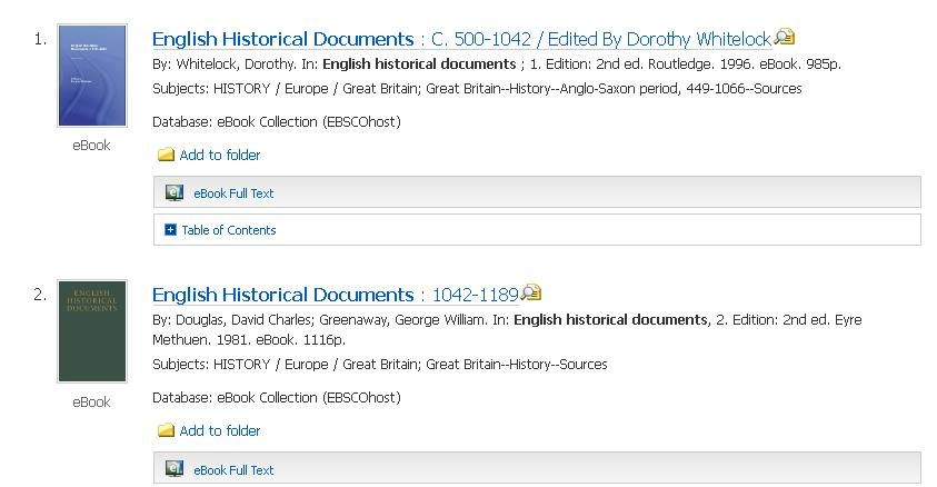 English Historical Documents available via SOLO as ebooks