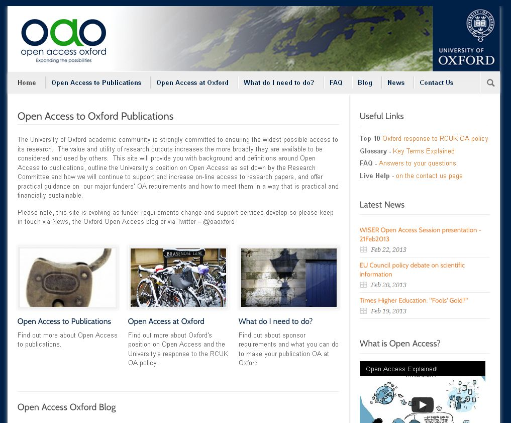 Open Access Oxford website